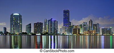 Miami Skyline - Panoramic image of Miami downtown skyline at...