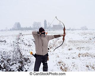 archer, hiver, temps