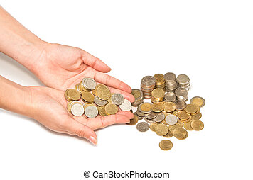 woman hand holding pile of coins on white background,...