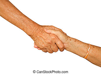 Happy Senior Adult Couple Holding Hands together