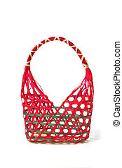 Empty Colorful Wicker Basket (hand made) On White Background