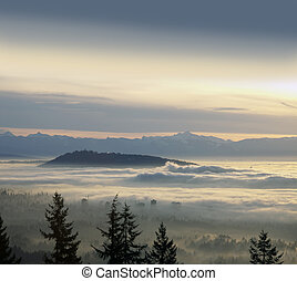 Vancouver, SFU, Burnaby, Richmond and Coast Mountains in the clouds