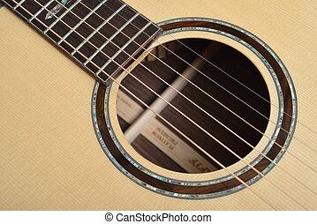 Sound hole of acoustic guitar - Decorated Sound hole of...