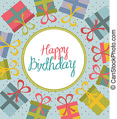 Happy Birthday card over gift background vector illustration...