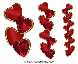 Valentine hearts borders - Illustration composition of red...
