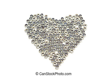 Iron heart made form nuts on white background