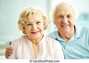 Happy seniors - Portrait of smiling seniors enjoying...