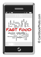 Fast Food Word Cloud Concept on Touchscreen Phone
