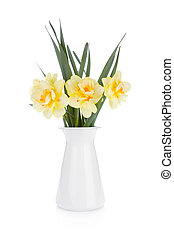 Bouquet of yellow daffodils in flowerpot