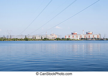 Nuclear power plant in South Ukraine with electric wire on...