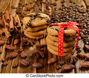 Chocolate chip cookies decorated with ribbons