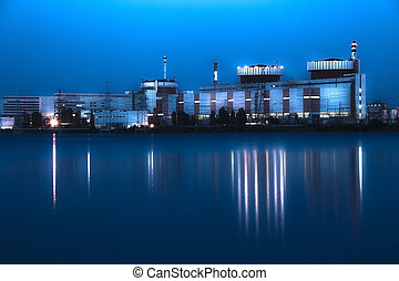 Nuclear power plant at night in South Ukraine - Nuclear...