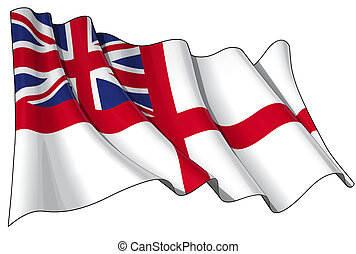 British Naval Ensign (Flag) - Illustration of a Waving...