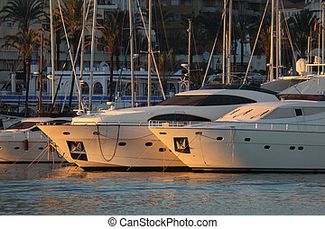 Yachts in the marina of Estepona, Costa del Sol, Andalusia...