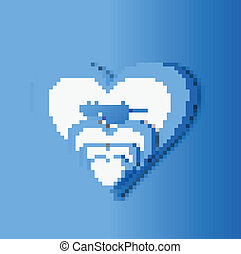 Valentine's day blue colorful heart background