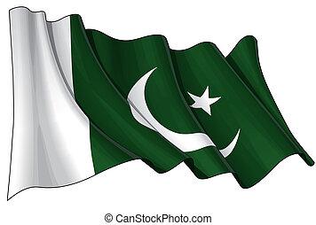 Pakistani Flag - Illustration of a Waving Pakistani Flag