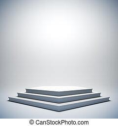 White empty stage.