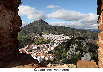 View over the Andalusian village Gaucin, Spain