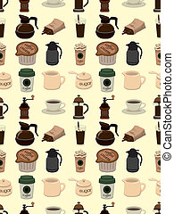 seamless coffee pattern,cartoon vector illustration