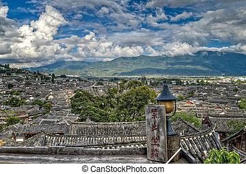 Lijiang City Roof Tops - Tops of roofs in Lijian City,...