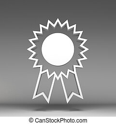 3d award ribbon rosette icon
