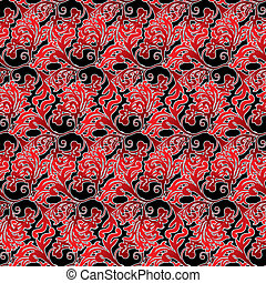 regal floral - floral inspired red and black background that...