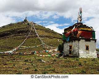 Tibetan Stupa At Hill Top With Prayer Flags