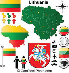 Lithuania map - Vector set of Lithuania country shape with...