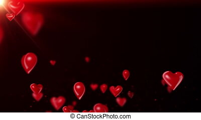 Heart-Shaped Ballons Flying Red