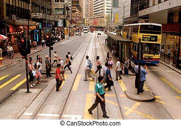 zaneprázdněný, ulice, hong, kong,...