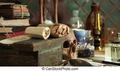 alchemy still life - Dolly shot of a alchemy still life with...