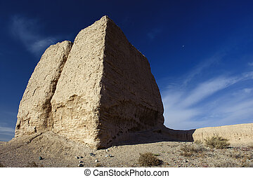 The Second Pier of Great Wall in the Gobi desert in...