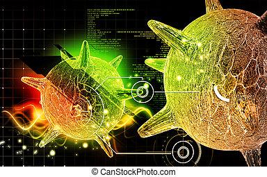 Herpes virus - Digital illustration of herpes virus in...