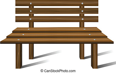 Wooden bench from front view