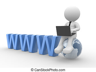 Laptop - 3d people - man, person with a laptop and earth...