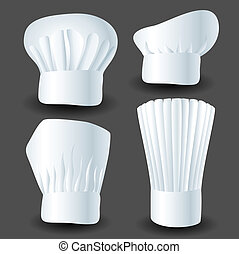 Chef hat set on gray background