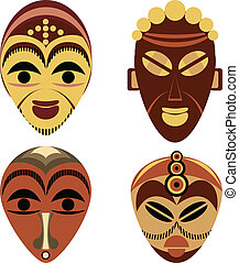 African mask set made from simple elements