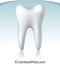 3d tooth on blue background