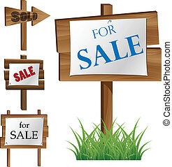 Wooden sale board set