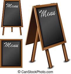 Wood blackboard set for menu - Wood blackboard set for...