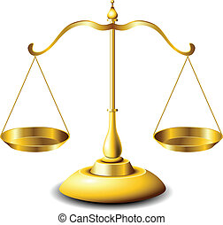 Scales of justice - Golden scales of justice with balanced...