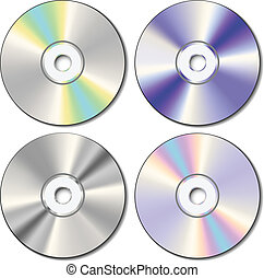 Realistic CD set in different color reflections eps10