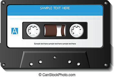 Realistic cassette tape with blank label