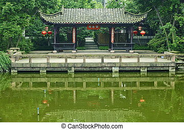chinese traditional pavilion in a park
