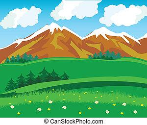 Summer in mountain - Illustration summer in mountain.Wild...