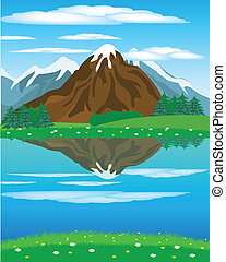 Landscape with mountain oi river - Illustration of the year...