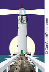 Lighthouse at Night - A lighthous shining its beam out to...