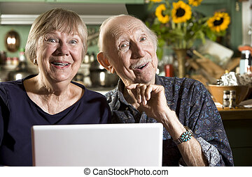 Smiling Senior Couple with a Laptop Computer - Smiling...