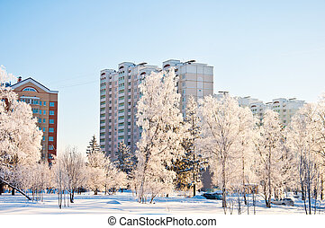 Winter Moscow, Russia A dormitory