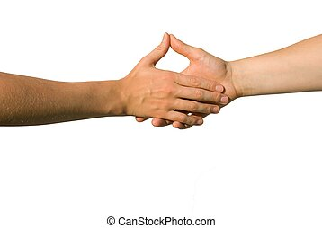handshake - a handshake between two yound hands with thumbs...